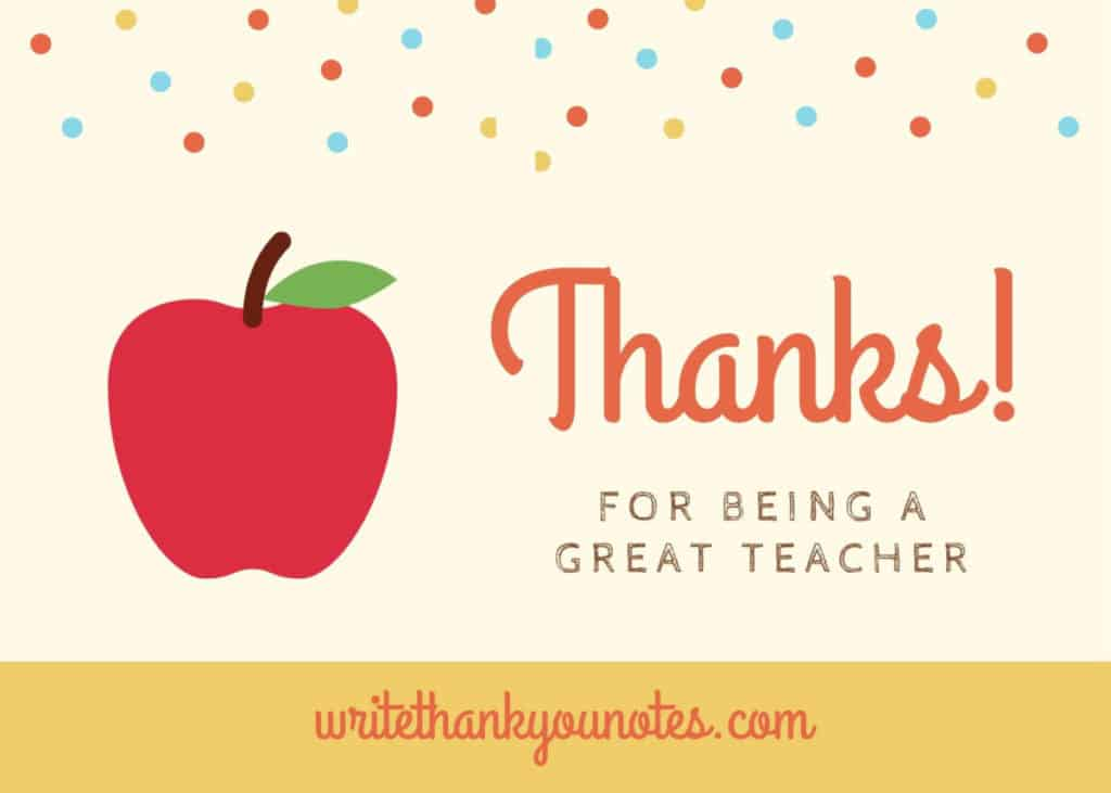 more thank you note examples for your teacher from parents and students