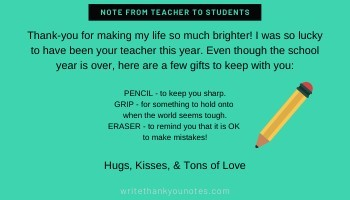 goodbye note from teacher to students